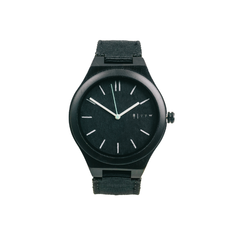 Nylon horloge met ebbenhout