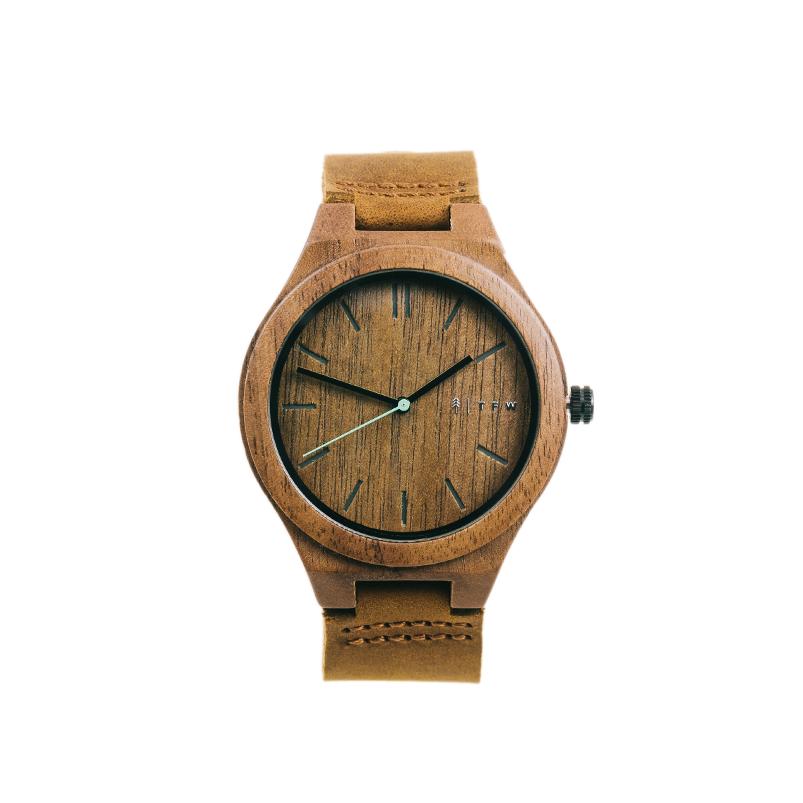 Leren horlogeband met hout