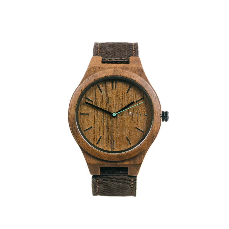 Walnoot horloge Igris Nylon