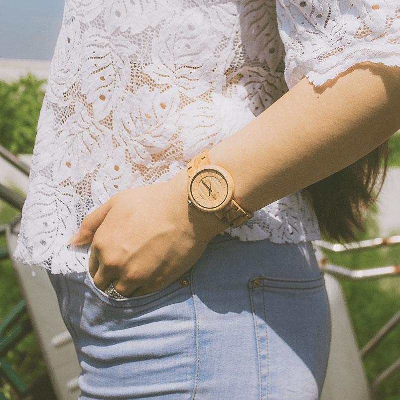 Houten horloge dames